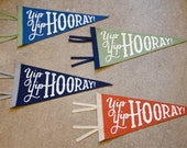 Pennant, Yip, Yip, Hooray! 100% wool, hand lettered, hand silkscreened banner, decor for dogs, IN STOCK ready to ship