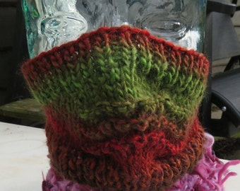 Hand knitted ski mask in variegated red and green
