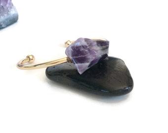 Purple Amethyst Bracelet,Large Chunky Purple Amethyst Statement Cuff Bracelet, Brass Cuff, Natural Stone Cuff, Purple Cuff Bracelet