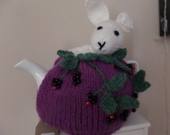 Hand Knitted Tea Cosy - Rabbit in the Blackberries