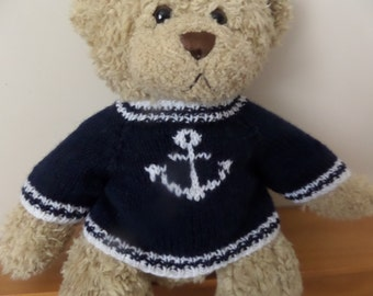 Teddy Bear Sweater Jumper - Hand knitted -  Navy Blue with Anchor motif - fits Build a Bear