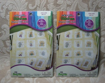 Janlynn 12 Stamped Quilt Blocks - Color with Stitches #998-4008  ABC123  - Set of 2 Quilts
