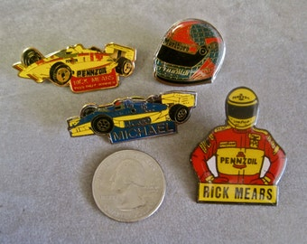 1988 Hat Tack Pins INDY 500 Acrylic Enamel Racing Cars Helmets Drivers Andretti Michael Rick Mears Fitipaldi CHOICE of 1 Rare Collectible