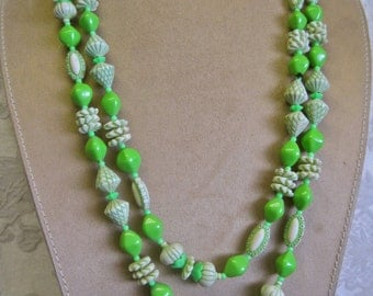 Spring Green Beaded Necklace Extra Long with Clasp Vintage 80s White and Neon Lime Fancy Beads FUN SPRING STYLE