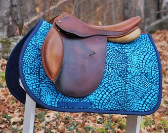 Ready to Ship - Navy Blue and Aqua Mosaic Batik Close Contact Saddle Pad