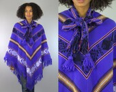 70s Guatemalan Poncho Ethnic Bohemian Purple Wool Woven Tribal Cape Jacket