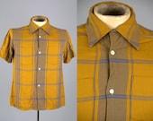 50s Rockabilly Shirt Van Heusen Yellow Plaid Rayon Loop Button Dress Shirt