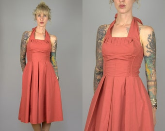1950s Halter Dress Dusty Rose Cotton 90s does 50s Party Dress