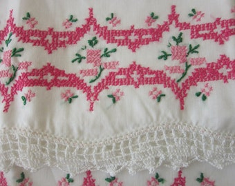Vintage Cotton Pillowcases Set of 2 embroidered & crocheted chic cottage-MINT