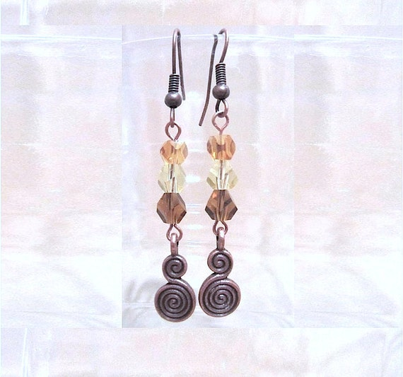 Beaded Copper Earrings, Fall Colors & Copper Double Spiral Earrings, Helix Crystal Beaded Earrings, Handmade Beaded Jewelry, Celtic Earrings