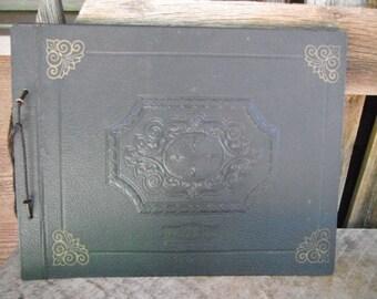 Antique String Tied Photo Album - Black - Victorian Scrapbook - Unused