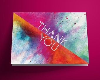 Printable Thank You Card, Color Thank You Card, DIY Instant Download, Wedding Thank You Card, Birthday Thank You Card, Art, Splash, Colorful