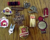 Reserved for Mark: Instant Collection! 11 assorted badges, medals, Destash, French, Soviet, and ?, metal with backs, vintage, Militaria