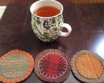 Upcycled set of 3  Felted Wool Coasters