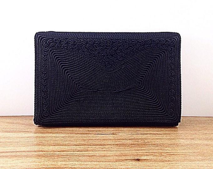 Vintage Art Deco Handbag Gold Seal Black Clutch. Weaved Textured Corded Handbag, Gold Seal Stamp. All Black Evening Bag
