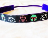 NOODLE HUGGER Non slip ribbon headband - Star Wars helmets (glow in the dark) - 7/8 inch (running, working out, everyday: women and girls)