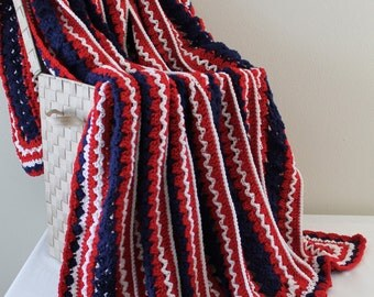 Afghan - Handmade Crochet Queen Size Blanket - Red White and Blue Centers - Christmas in July SALE - 20 % off until July 31st