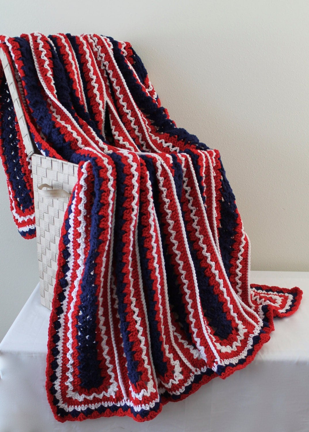 Afghan Handmade Crochet Queen Size Blanket Red White and
