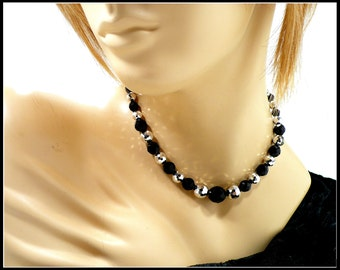16 Inch Silver & Black Crystal Choker, Metallic Silver Necklace, Rockabilly Style, Black Choker, Laguna New Old Stock, Gift For Her