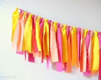 Rag Tie Garland Yellow Pink Orange Fabric Streamer Backdrop