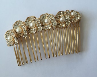 Swarovski Crystal Pearl Flower Gold Plated Hair Comb, for Bridal, weddings, parties, evening, special occasions