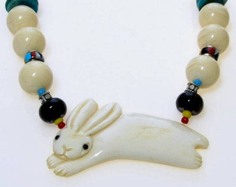 Carved  Bone Rabbit Pendant Beaded Necklace, Yellow Red African Maasai Beads,Turquoise, Black Onyx, Sterling Silver, Unique, One of a Kind