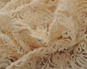 3D nude lace fabric for bridal gown, wedding dress, costume design