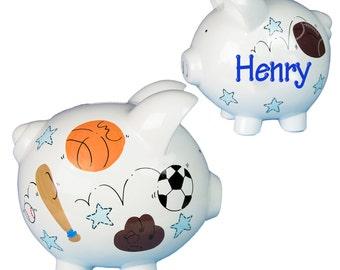 Basketball piggy etsy - Ceramic piggy banks for boys ...