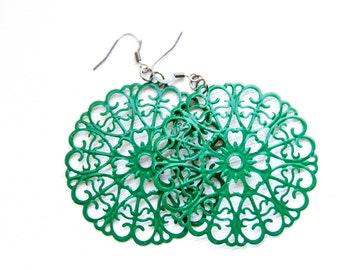 Green Metal Round Filigree Dangles