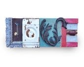 Love sign wood, mixed media assemblage, typography wall art, original art architectural salvage by Elizabeth Rosen