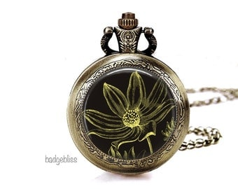 Pocket watch necklace, ladies pocket watch necklace Botanical