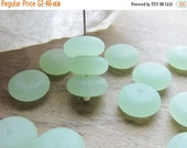 ON SALE Sea Glass Rondelle Bead Opaque Seafoam Green 11mm x 4mm QTY 14