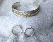 2 vintage Sterling silver heavy bracelet puffy hoop earrings Mexico
