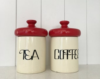 Mid Century Ceramic Canister Set Coffee and Tea with Red Lid