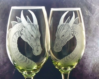 Dragons ! wine glasses Lime green turquoise or purple dragon engraved custom wine glass  etched engraved wine glass wine glasses for