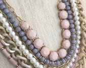 Seven Strand Statement Necklace Mega Bold Baby Pink Grey Pearl Textured Gold Chain Wedding Bridesmaid Gift MothersDay