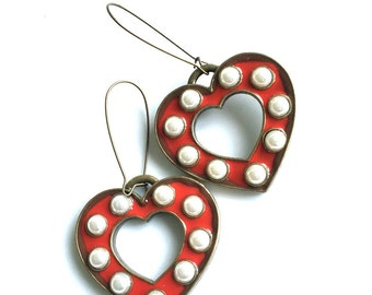 Love Big Or Go Home Red Heart Statement Earrings Vintage Marquee