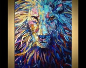 "Lion Painting Abstract Art 36"" x 24"" Animal original oil on canvas palette knife heavy textured technique ready to hang"