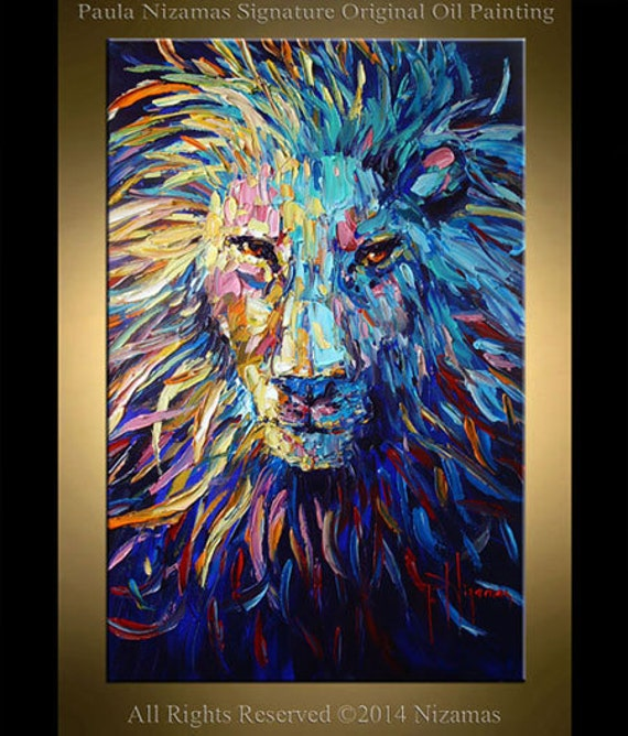 Lion Oil Painting on canvas animal Art original palette knife