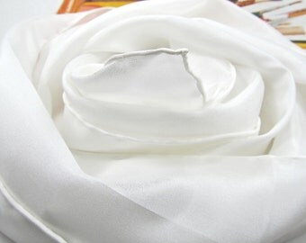 100% Silk Habotai Blank for Nuno Felting Painting and Dyeing or Ready to Wear As Is Natural Off White Ivory Silk Scarf, Many Sizes Available