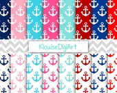 Nautical Anchors Digital Paper, Sailor Scrapbook Paper, Anchors - Personal and Small Commercial Use (0003)
