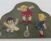 Vintage key holder wooden rack 50s Germany hand-painted children TERI Kunstgewerbe