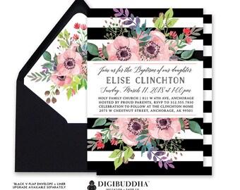 BAPTISM INVITATION CHRISTENING Invitation Black Stripe Pink Watercolor Anemone Boho Naming Ceremony Free Shipping or DiY Printable- Elise