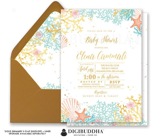 Baby shower invitation beach baby shower invite beach watercolor il570xn filmwisefo Image collections