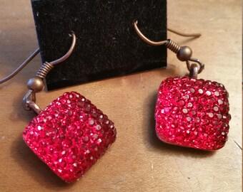 Glamour Glitter Red or Pink Earrings Copper Tone Base Gem Earrings