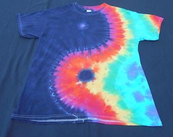 Rainbow Yin Yang Tie Dye Large Shirt #029