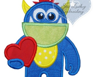 Love Monster Applique Embroidered Patch, Sew or Iron on