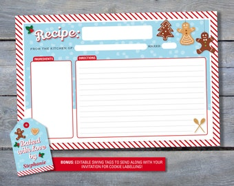 CHRISTMAS Recipe Cards and Editable Swing Tag for gifting - Printable Files - Print Your Own - Christmas Cookies - Cookie Exchange