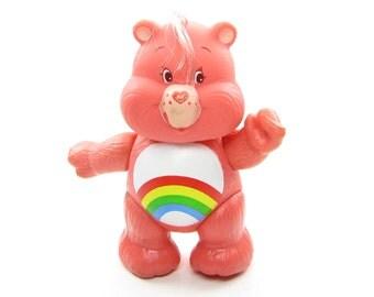 Cheer Bear Care Bears Poseable Vintage Toy Figurine with Rainbow on Tummy
