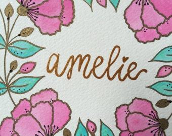 Custom Name Art Wreath Watercolor and Ink 5'x7' Unframed